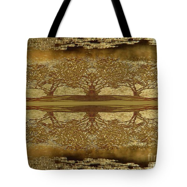 Golden Trees Reflection Tote Bag