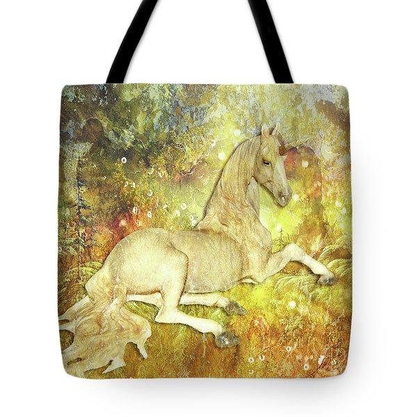 Golden Unicorn Dreams Tote Bag