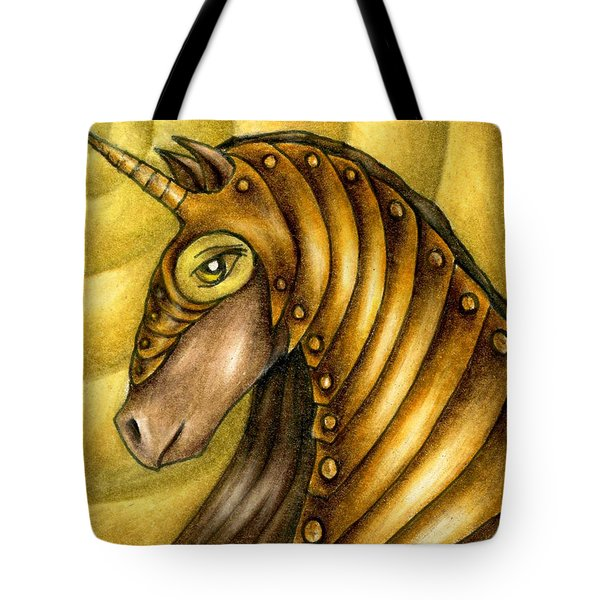 Golden Unicorn Warrior Art Tote Bag