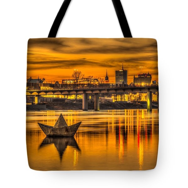 Tote Bag featuring the photograph Golden Vistula by Julis Simo