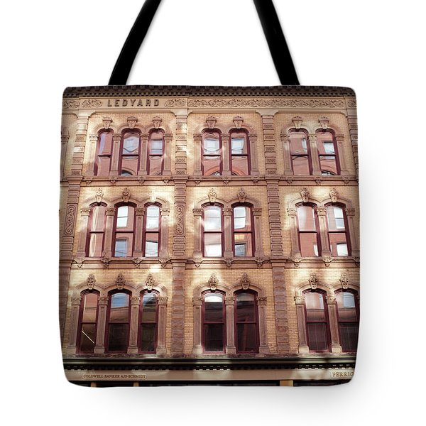 Golden Wall Of Windows And Architecture Light In Grand Rapids Michigan Tote Bag