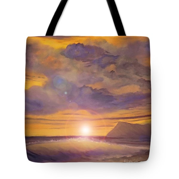 Tote Bag featuring the painting Golden Wave by Holly Martinson