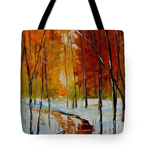 Golden Winter Tote Bag