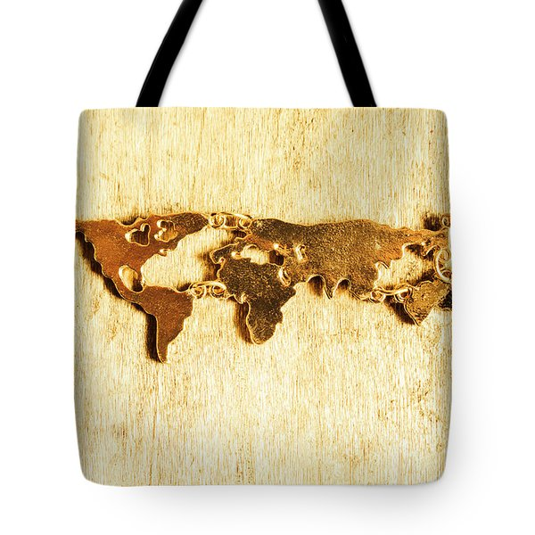 Golden World Continents Tote Bag
