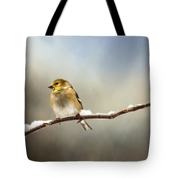 Goldfinch After A Spring Snow Storm Tote Bag