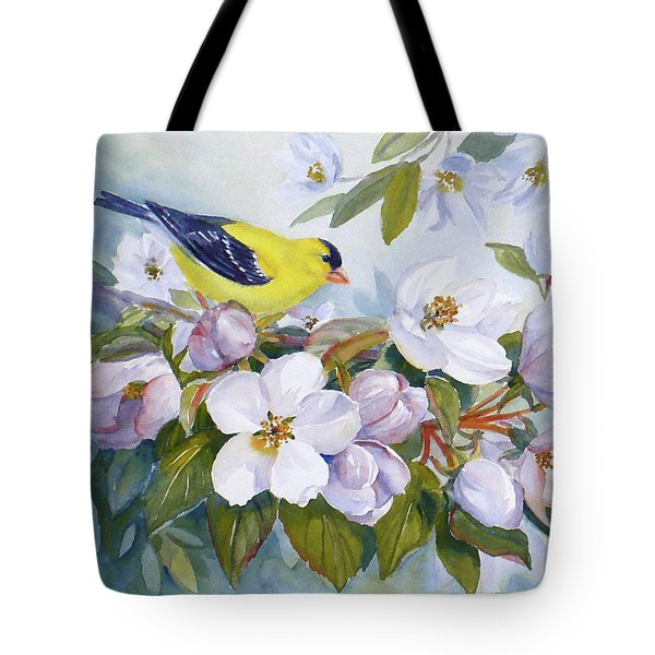 Goldfinch And Crabapple Blossoms Tote Bag