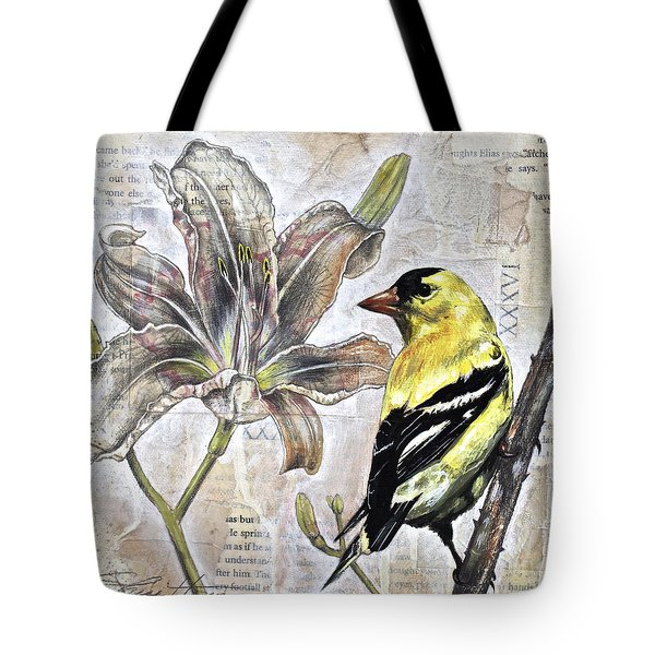 Goldfinch And Lily Tote Bag by Sheri Howe