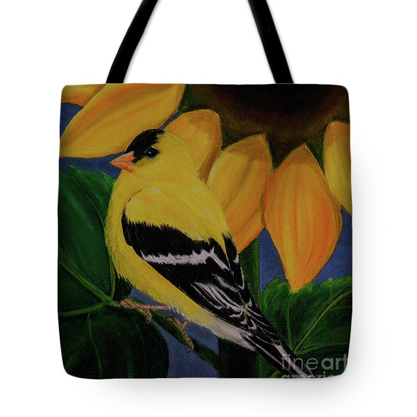 Goldfinch And Sunflower Tote Bag by Jane Axman
