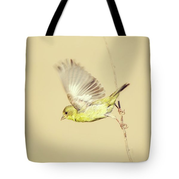 Goldfinch Flying Off  Tote Bag
