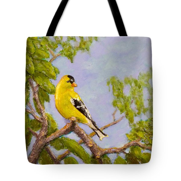 Tote Bag featuring the painting Goldfinch by Joe Bergholm