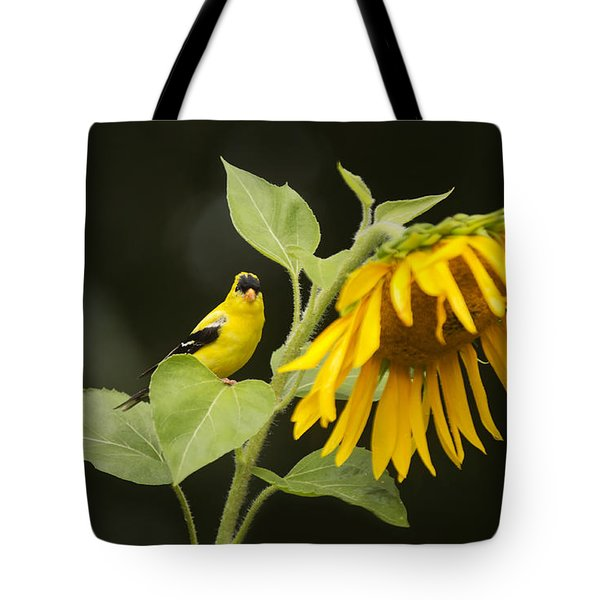 Goldfinch On Sunflower Tote Bag