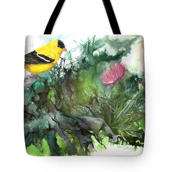 Tote Bag featuring the painting Goldfinch by Sherry Shipley