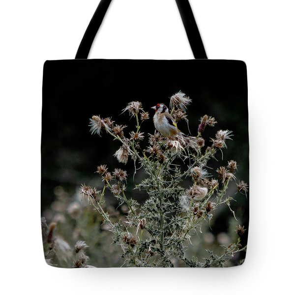 Goldfinch Sitting On A Thistle Tote Bag
