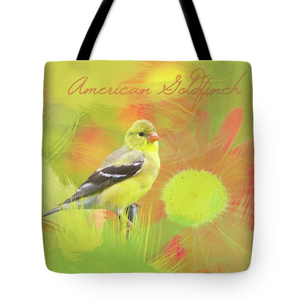 Tote Bag featuring the photograph Goldfinch Watercolor Photo by Heidi Hermes