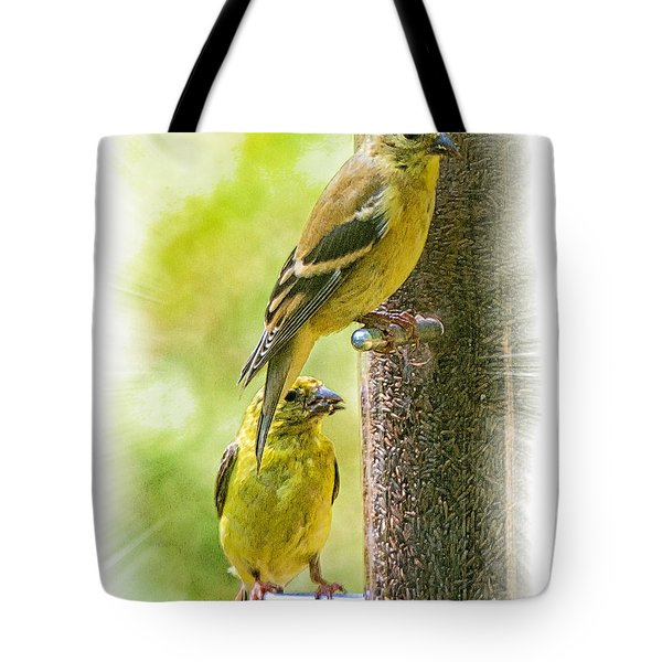 Tote Bag featuring the photograph Goldfinches by Constantine Gregory