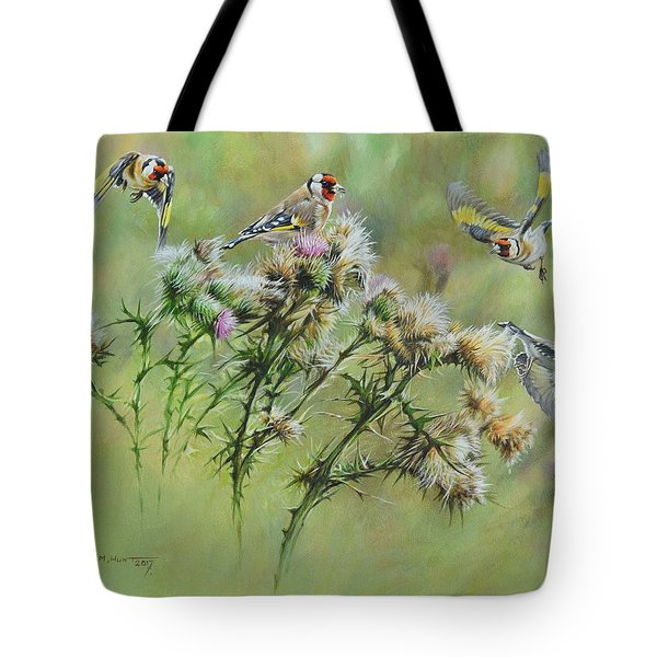 Goldfinches On Thistle Tote Bag