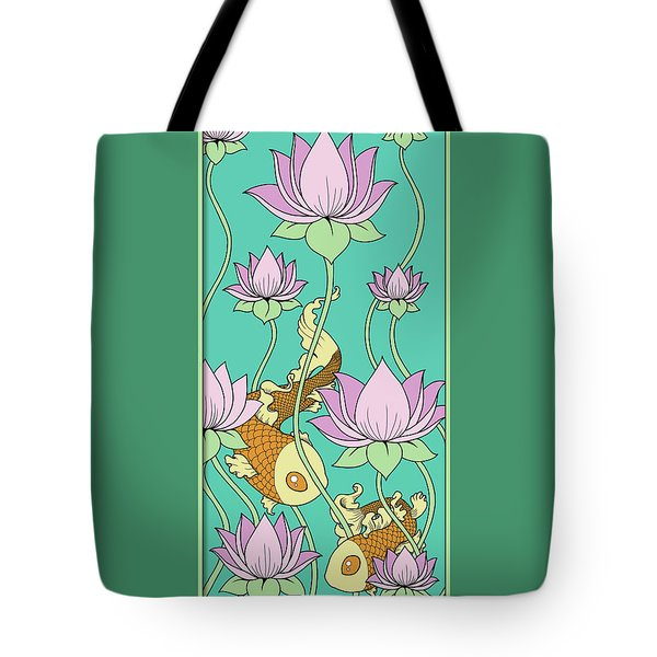 Goldfish And Lotus Tote Bag by Eleanor Hofer
