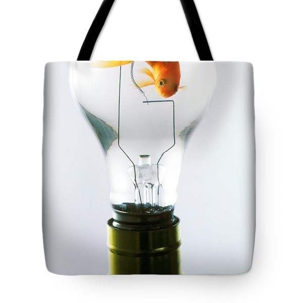 Goldfish In Light Bulb  Tote Bag by Garry Gay