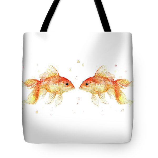 Goldfish Love Watercolor Tote Bag