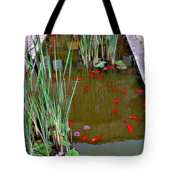 Tote Bag featuring the photograph Goldfish Pond No. 2 by Merton Allen