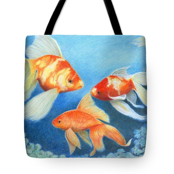 Tote Bag featuring the drawing Goldfish Tank by Phyllis Howard