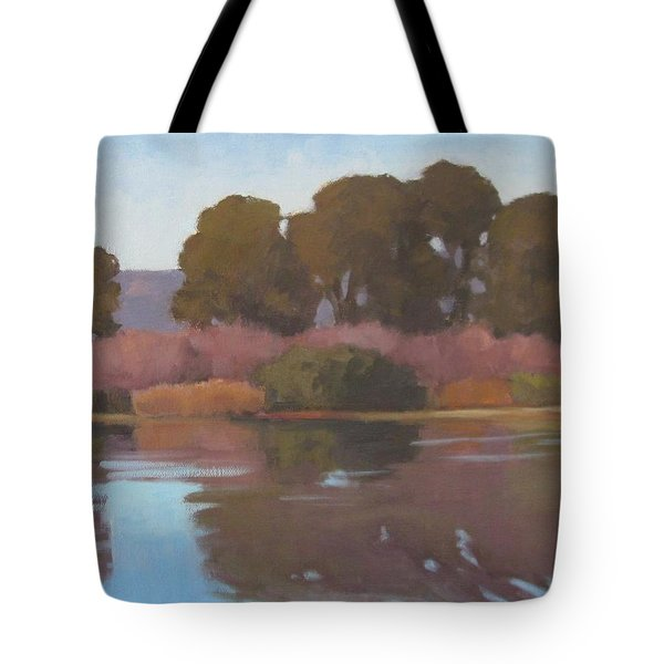 Tote Bag featuring the painting Goleta Beach Slough by Jennifer Boswell
