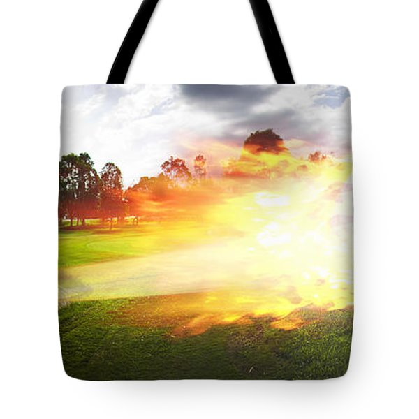 Golf Ball On Fire Tote Bag