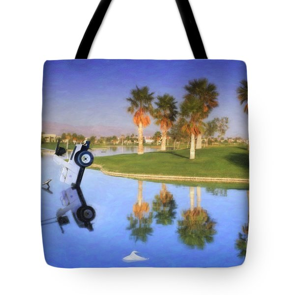 Tote Bag featuring the photograph Golf Cart Stuck In Water by David Zanzinger