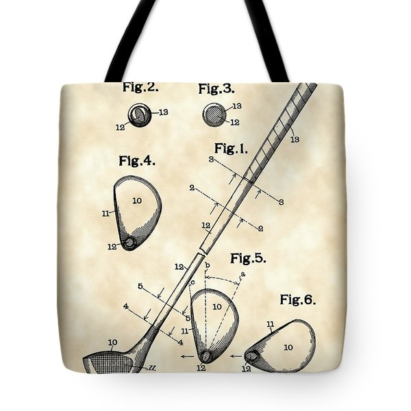 Golf Club Patent 1909 - Vintage Tote Bag by Stephen Younts