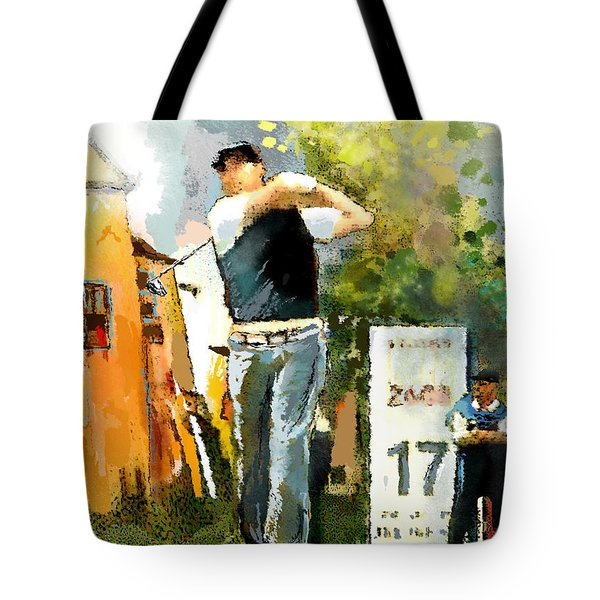 Golf In Club Fontana Austria 01 Dyptic Part 01 Tote Bag by Miki De Goodaboom