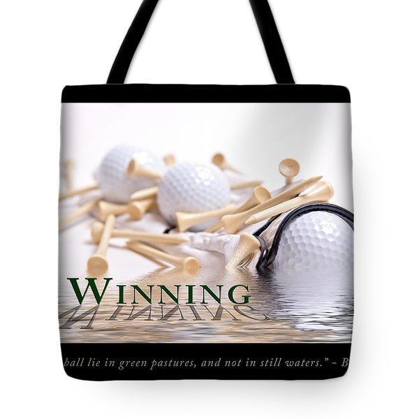 Golf Motivational Poster Tote Bag by Tom Mc Nemar