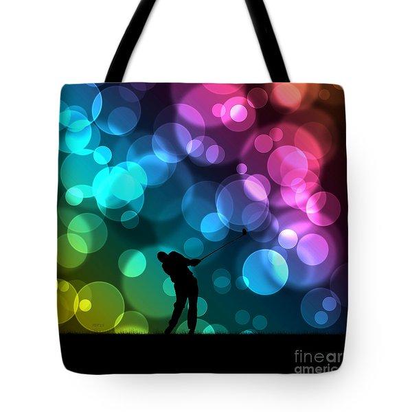 Golfer Driving Bokeh Graphic Tote Bag by Phil Perkins
