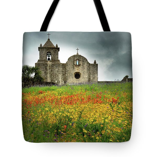 Goliad In Spring Tote Bag by Jon Holiday