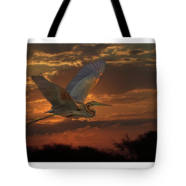 Tote Bag featuring the digital art Goliath Heron At Sunset by Larry Linton