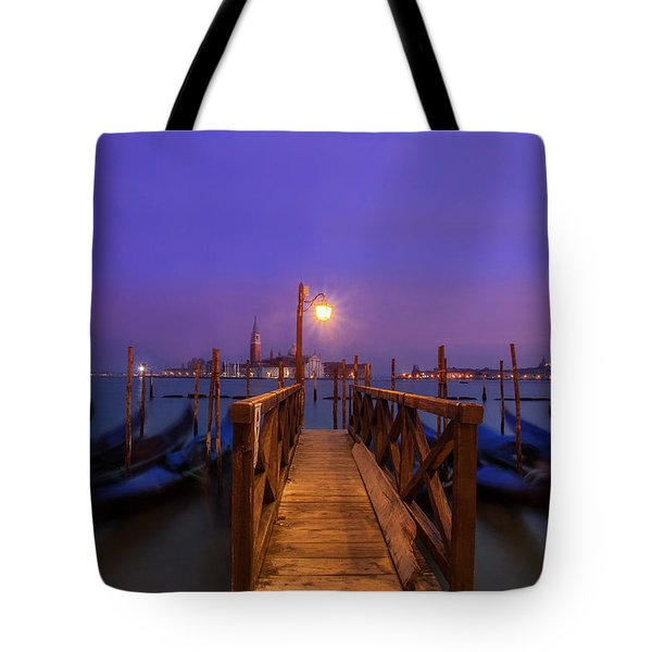 Tote Bag featuring the photograph Gondolas At Dawn by Andrew Soundarajan