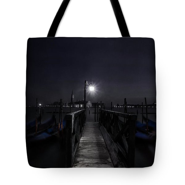 Tote Bag featuring the photograph Gondolas In The Night by Andrew Soundarajan