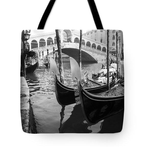 Gondole At Rialto Bridge Tote Bag by Marco Missiaja