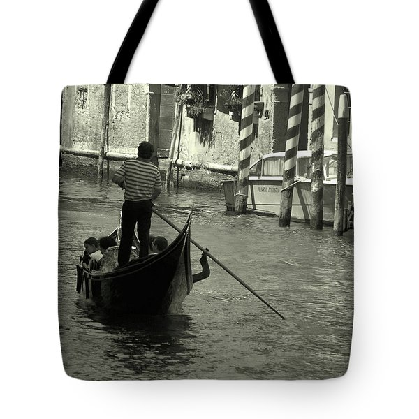 Tote Bag featuring the photograph Gondolier In Venice   by Frank Stallone