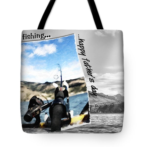 Gone Fishing Father's Day Card Tote Bag