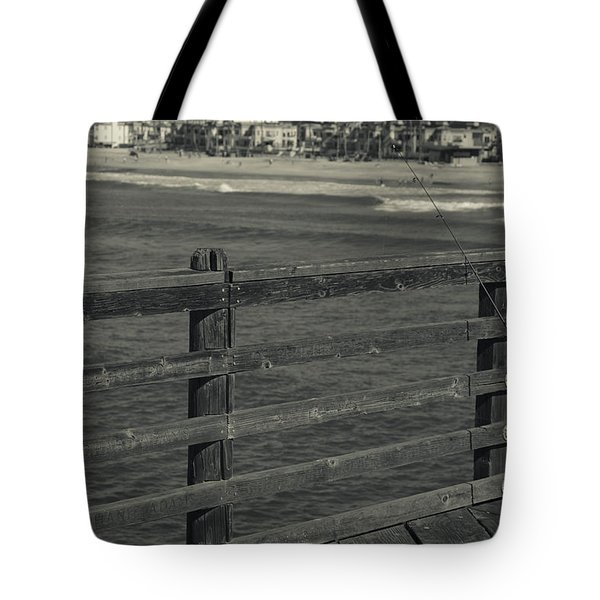 Gone Fishing In Black And White Tote Bag
