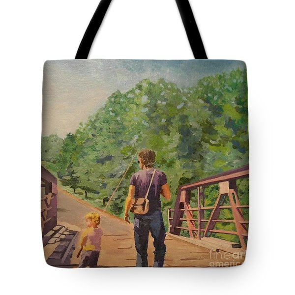 Gone Fishing With Dad Tote Bag