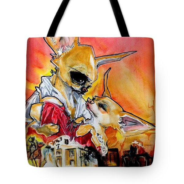 Gone With The Wind Chihuahuas Caricature Art Print Tote Bag