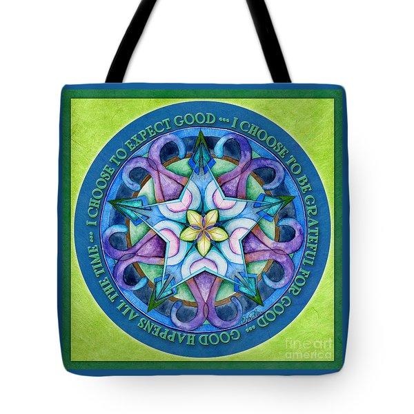 Good Happens Mandala Prayer Tote Bag