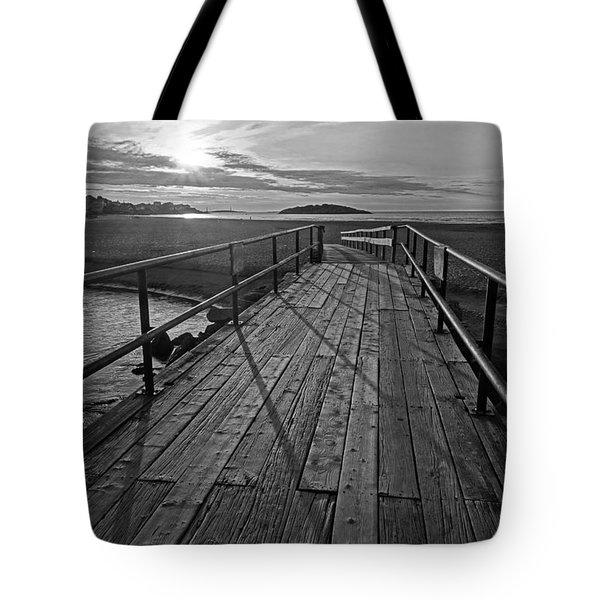 Good Harbor Beach Footbridge Shadows Black And White Tote Bag