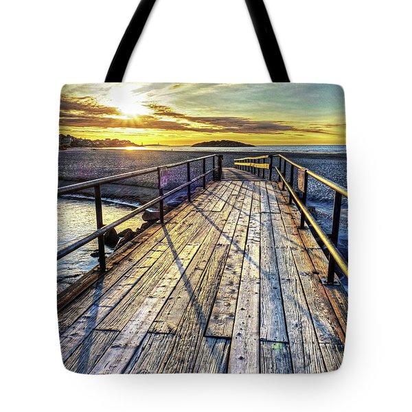 Good Harbor Beach Footbridge Shadows Tote Bag