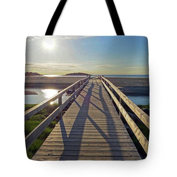 Good Harbor Beach Footbridge Sunny Shadow Tote Bag