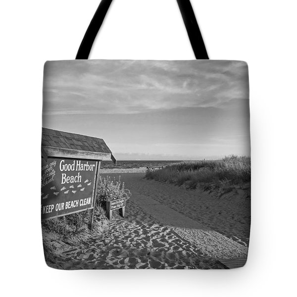 Good Harbor Sign At Sunset Black And White Tote Bag