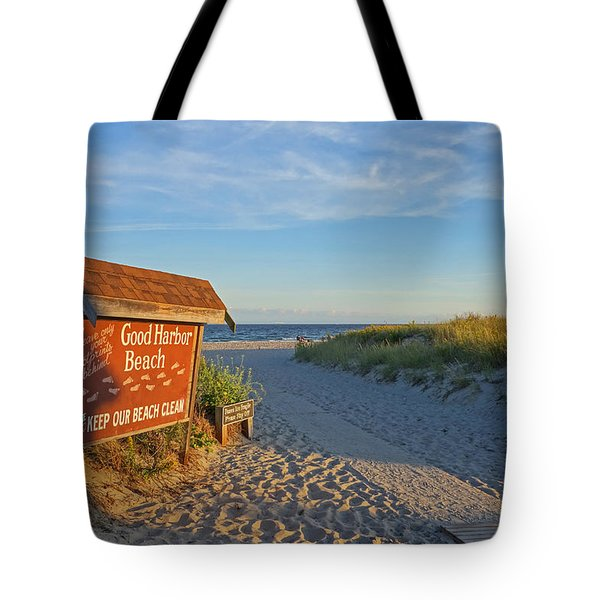 Good Harbor Sign At Sunset Tote Bag
