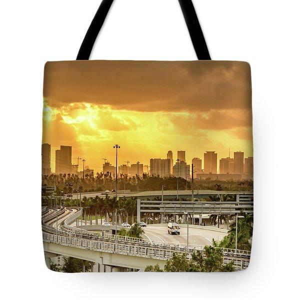 Miami City Sunrise Tote Bag