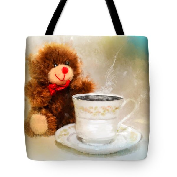 Good Morning Teddy Tote Bag by Mary Timman
